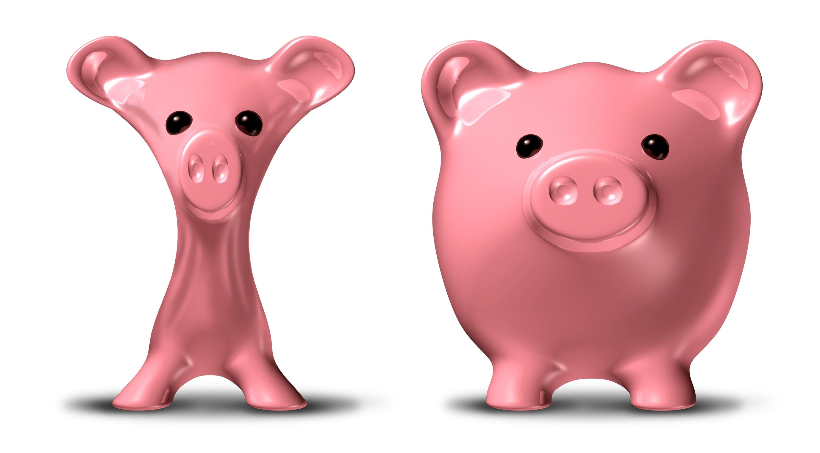 10892076 - cost cutting and budgeting before and after symbol represented by a skinny pink pig savings piggybank that has lost much weight.
