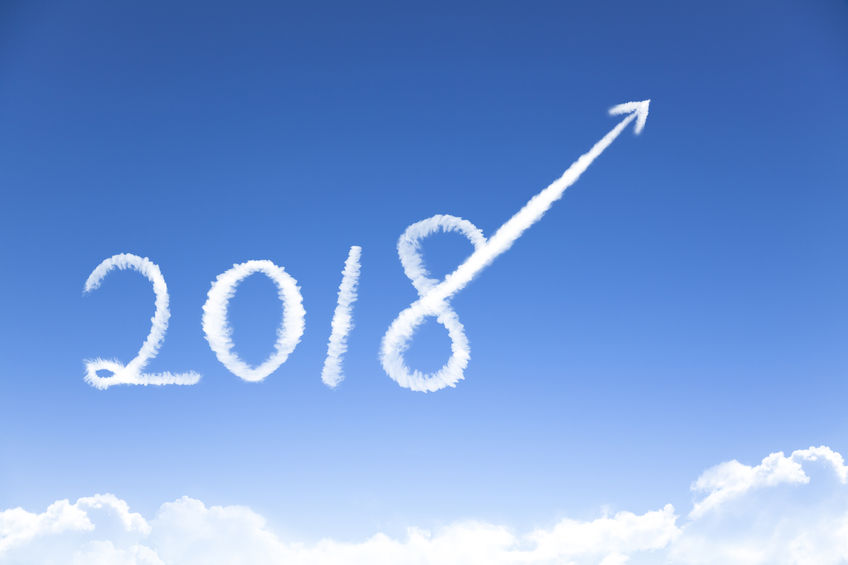 92428962 - happy new year 2018 and business growth concept by cloud