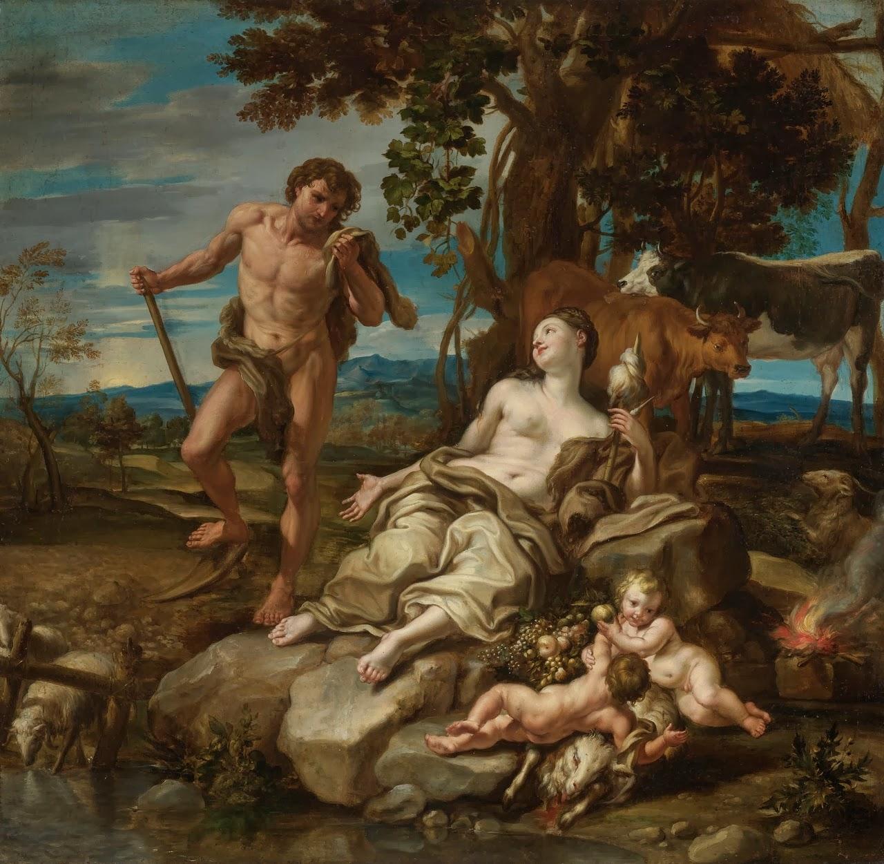 """""""Adão e Eva com os Meninos Caim e Abel"""", pintura do italiano Lorenzo De Ferrari (1680-1744)"""